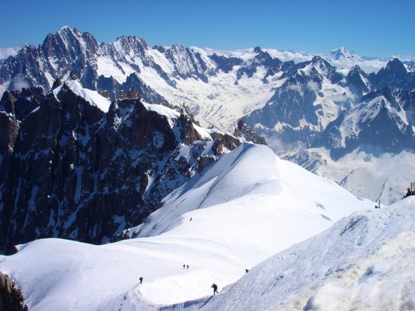 Path from Aiguille d'Midi station onto Mt. Chamonix, France