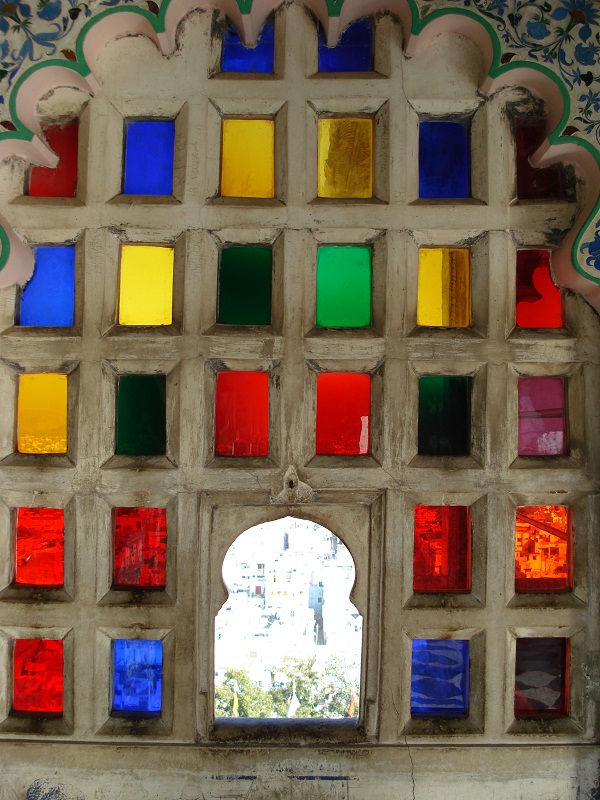 Window from inside the palace in Udaipur, Rajasthan, India