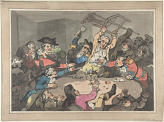 A Kick Up at a Hazard Table by Thomas Rowlandson