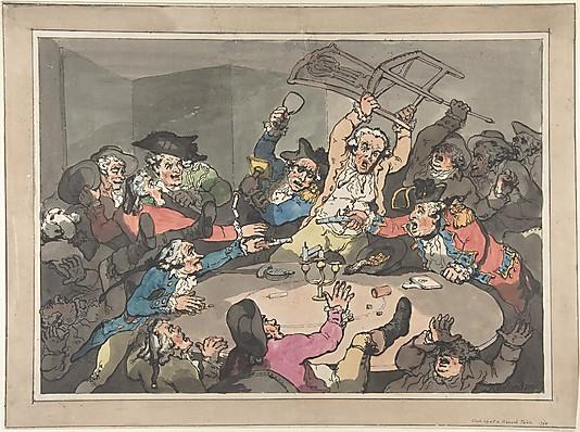 A Kick Up at a Hazard Table by Thomas Rowlandson