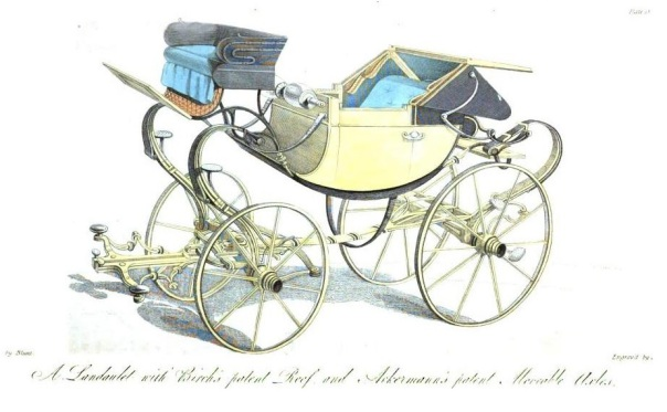 four wheeled carriage with new patent movable axles circa 1818