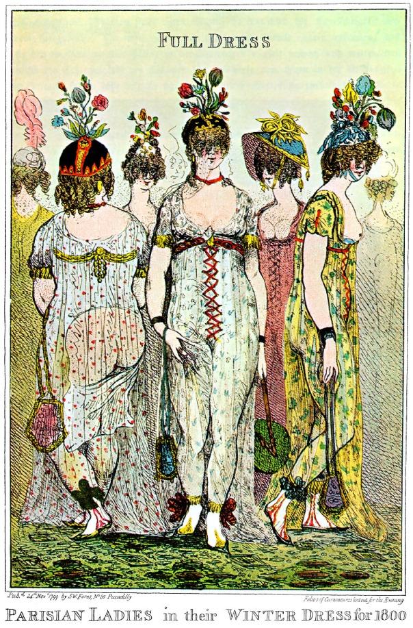 Paris ladies in full winter dress by Cruikshank (1799)