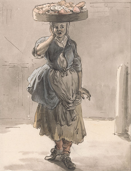 Girl with a Basket on Her Head by Paul Sandby (1759)