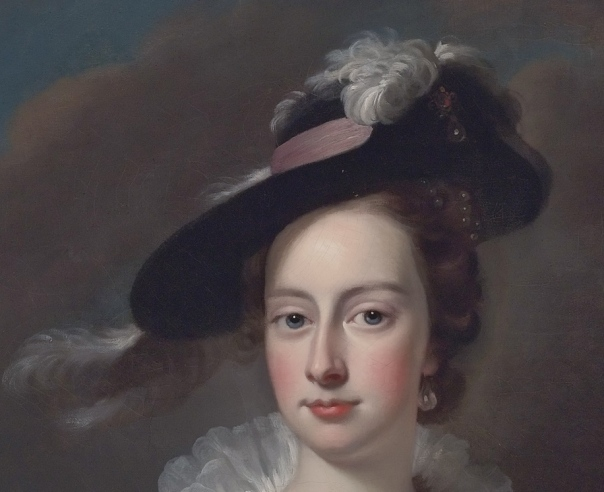 Frances Courtenay, view of feather hat