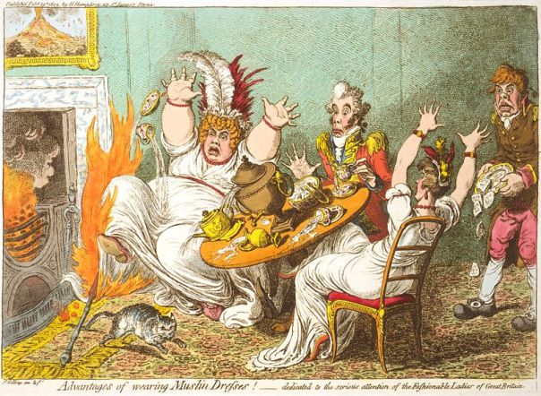 Advantages of Wearing Muslin by James Gillray (1802)