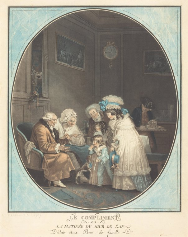 The Compliment, or New Year's Morning by Philibert-Louis Debucourt, 1787