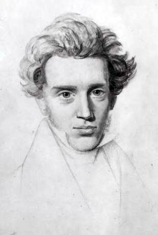 Sketch of Søren Kierkegaard. Based on a sketch by Niels Christian Kierkegaard